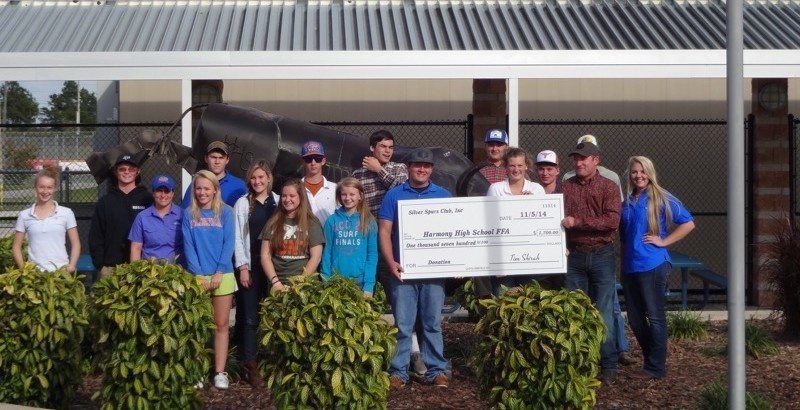Silver Spurs in the community donating $1,700.00 to the Harmony High School FFA program.