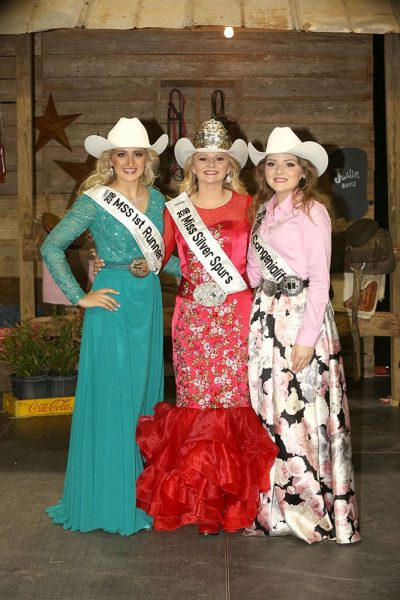 Miss Silver Spurs Haylee Crosby, Miss Silver Spurs  1st Runner Up/ Horsemanship Winner/Photogenic Winner Haleigh Vaughn and Miss Silver Spurs MSS Congeniality Taylor Hancock