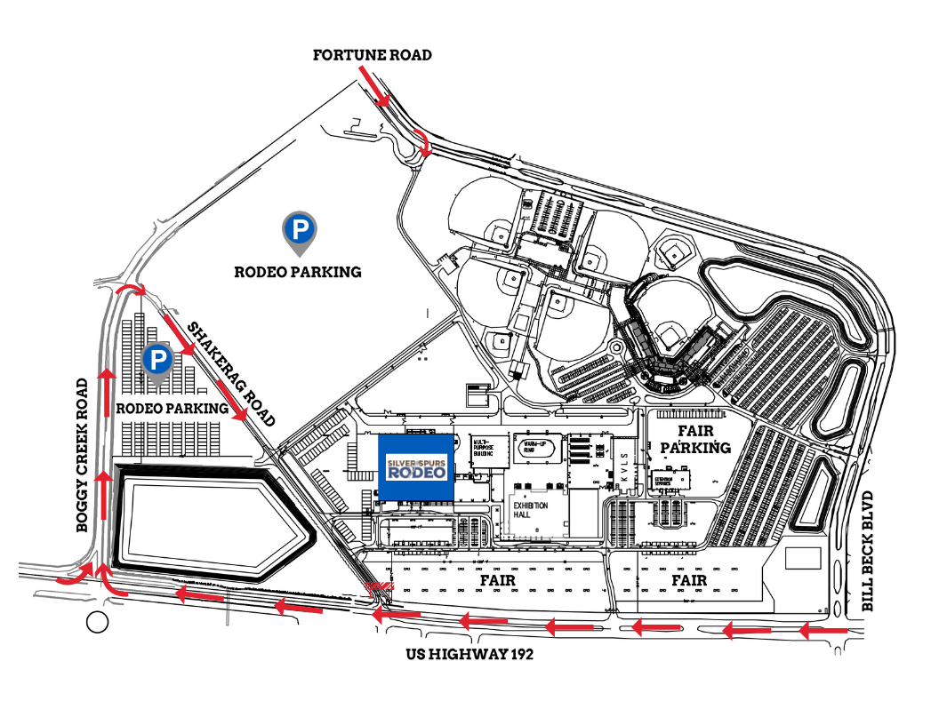 Silver Spurs Rodeo Parking Map
