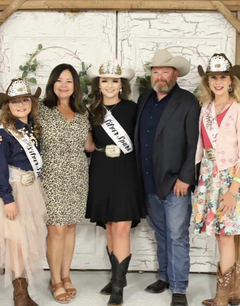 From left to right: 2019 - 2020 Little Miss Spurs Madison Gunther, Miss Silver Spurs Pageant Director Casey Baker, 2019 - 2020 Miss Silver Spurs Makenzie Conner, 2019 - 2020 Big Boss Chris Baker, 2019 - 2020 Junior Miss Silver Spurs Savannah Reese.